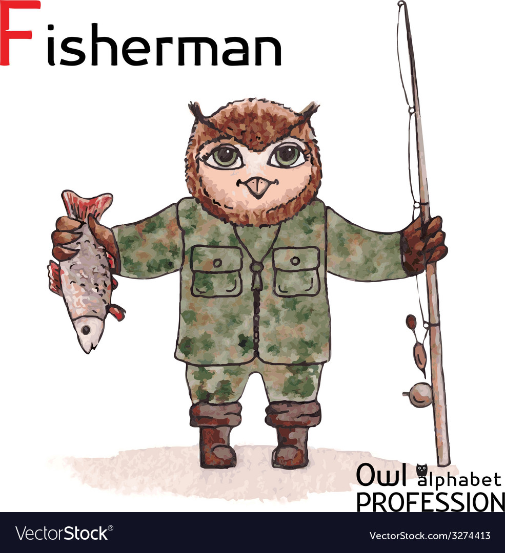 Alphabet professions owl letter f - fisherman vector | Price: 1 Credit (USD $1)