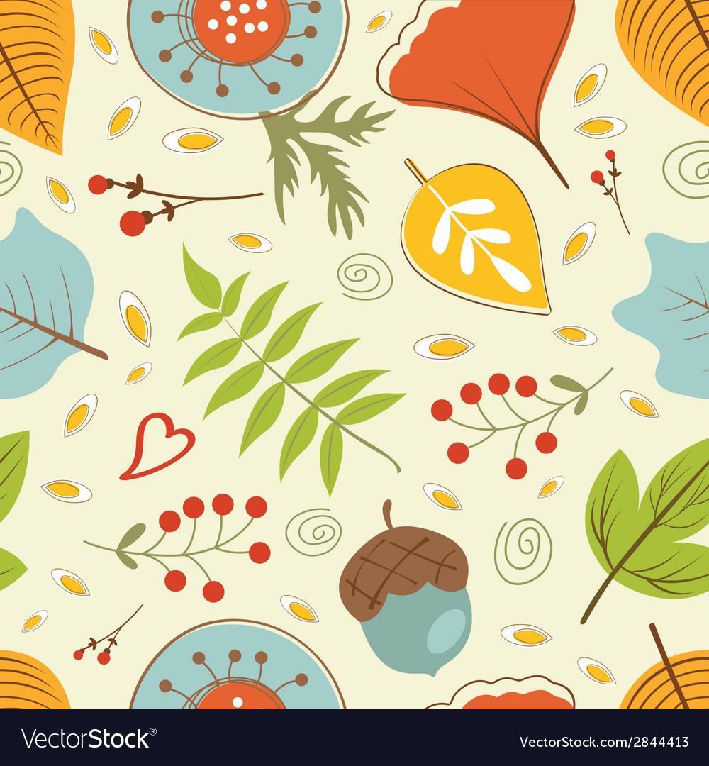 Autumn pattern with leaves vector | Price: 1 Credit (USD $1)