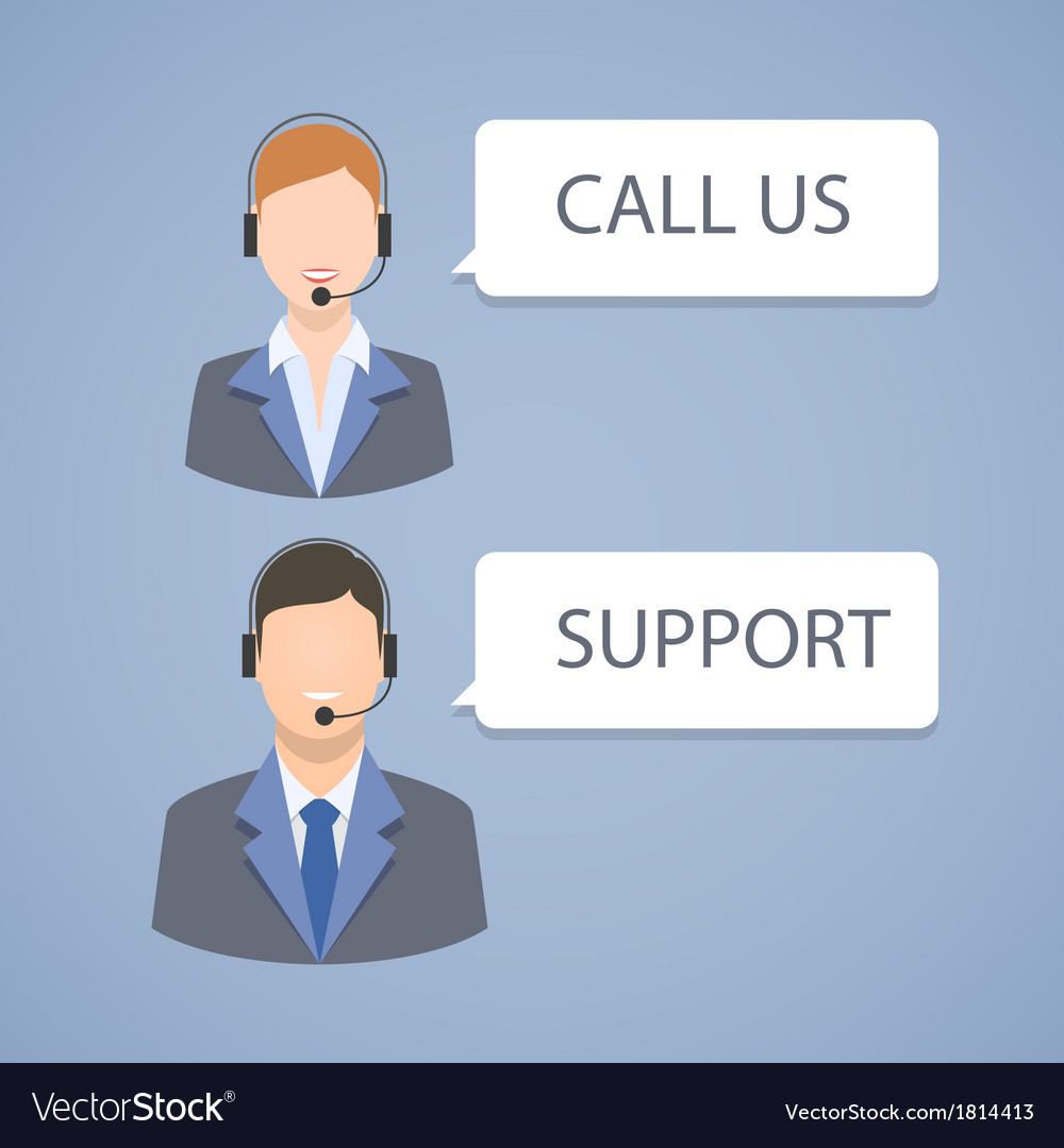 Call center support emblem vector | Price: 1 Credit (USD $1)