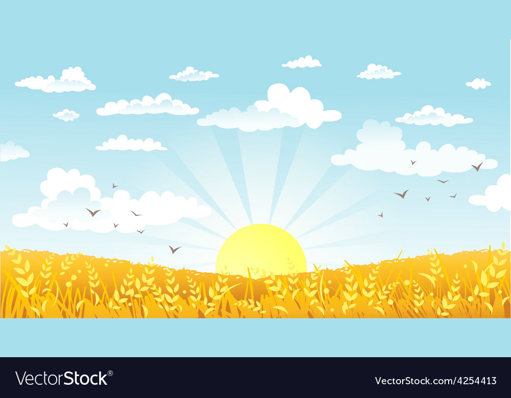 Countryside panorama in the morning vector | Price: 1 Credit (USD $1)