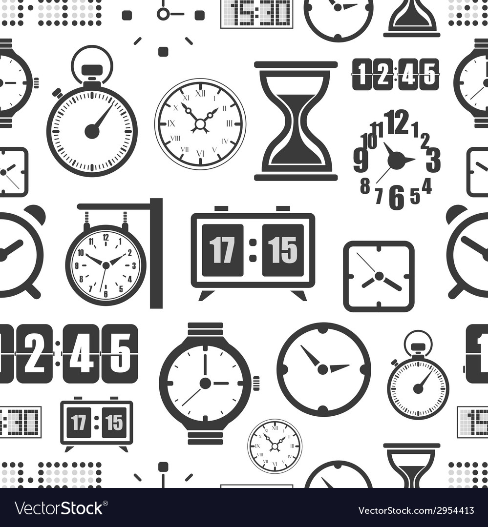 Different slyles of clock seamless background vector | Price: 1 Credit (USD $1)