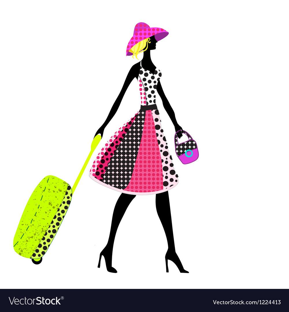 Elegant woman with luggage vector | Price: 1 Credit (USD $1)