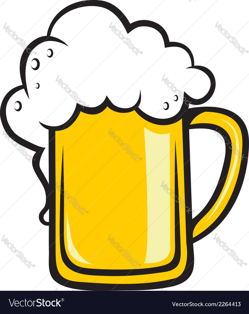 Frothy tankard of golden beer vector | Price: 1 Credit (USD $1)