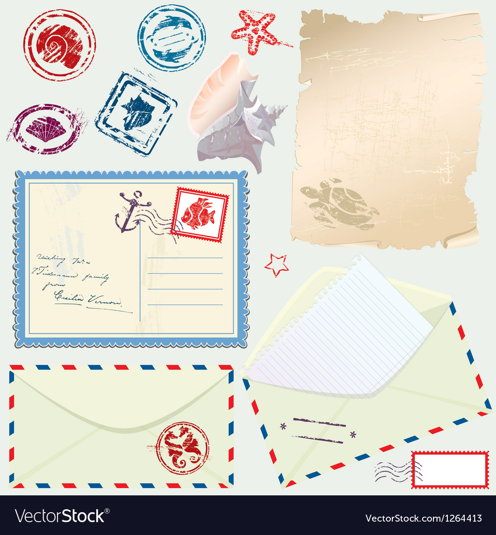 Postcard envelope stamps and paper vector | Price: 1 Credit (USD $1)