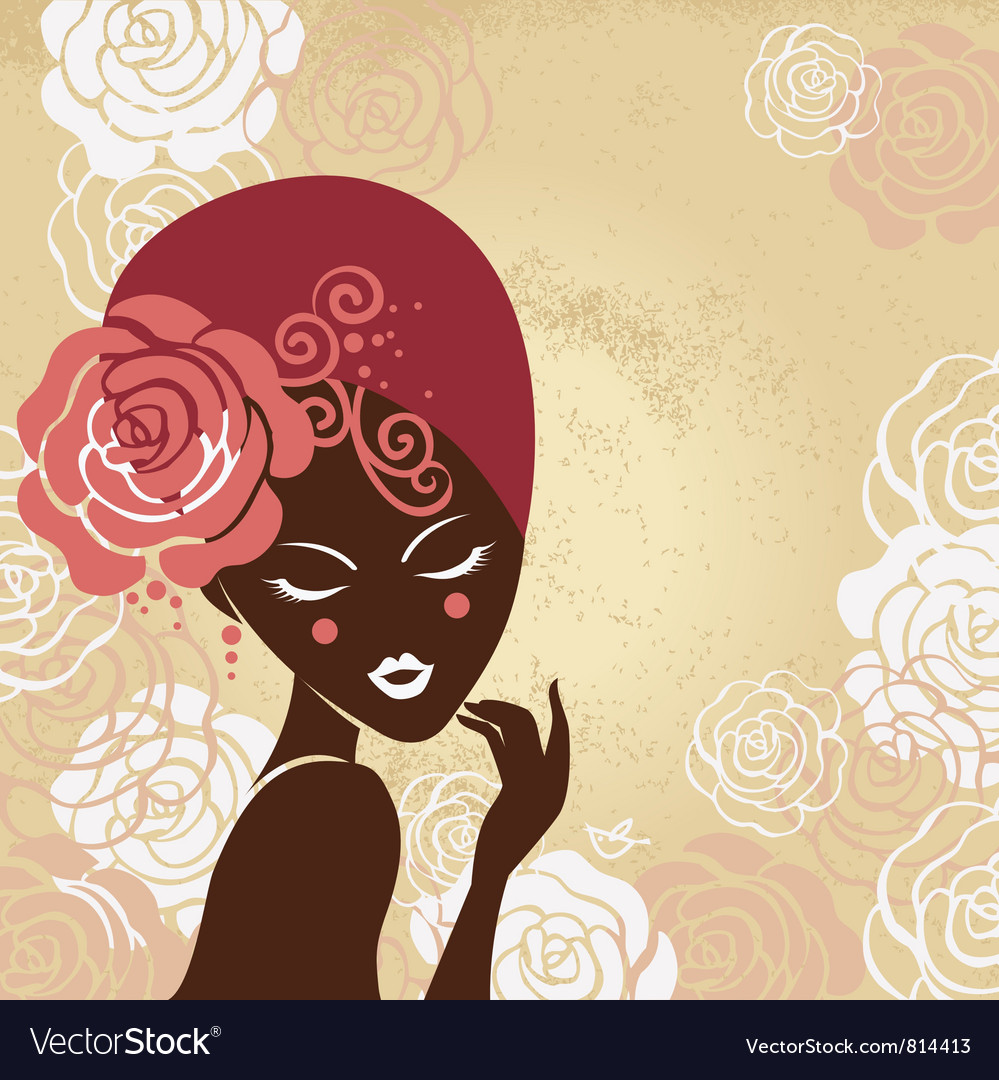 Retro beautiful woman silhouette vector   Price: 1 Credit (USD $1)