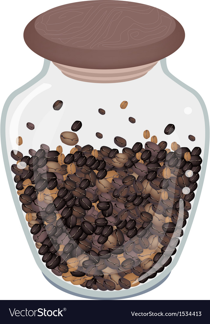 Various kind of roasted coffee beans in bottle vector | Price: 1 Credit (USD $1)