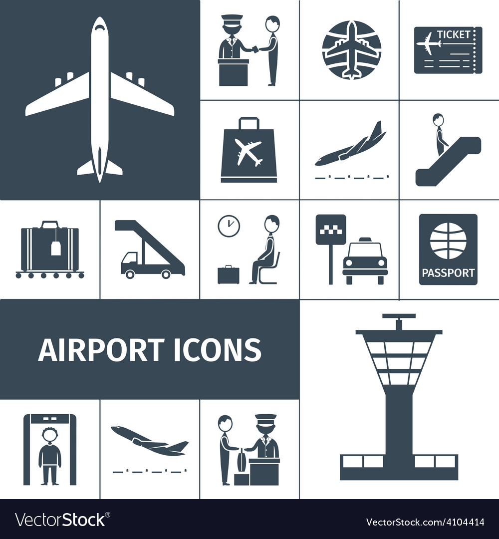 Airport icons black set vector | Price: 1 Credit (USD $1)