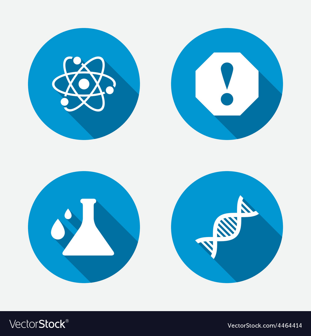 Attention and dna icons chemistry flask vector | Price: 1 Credit (USD $1)