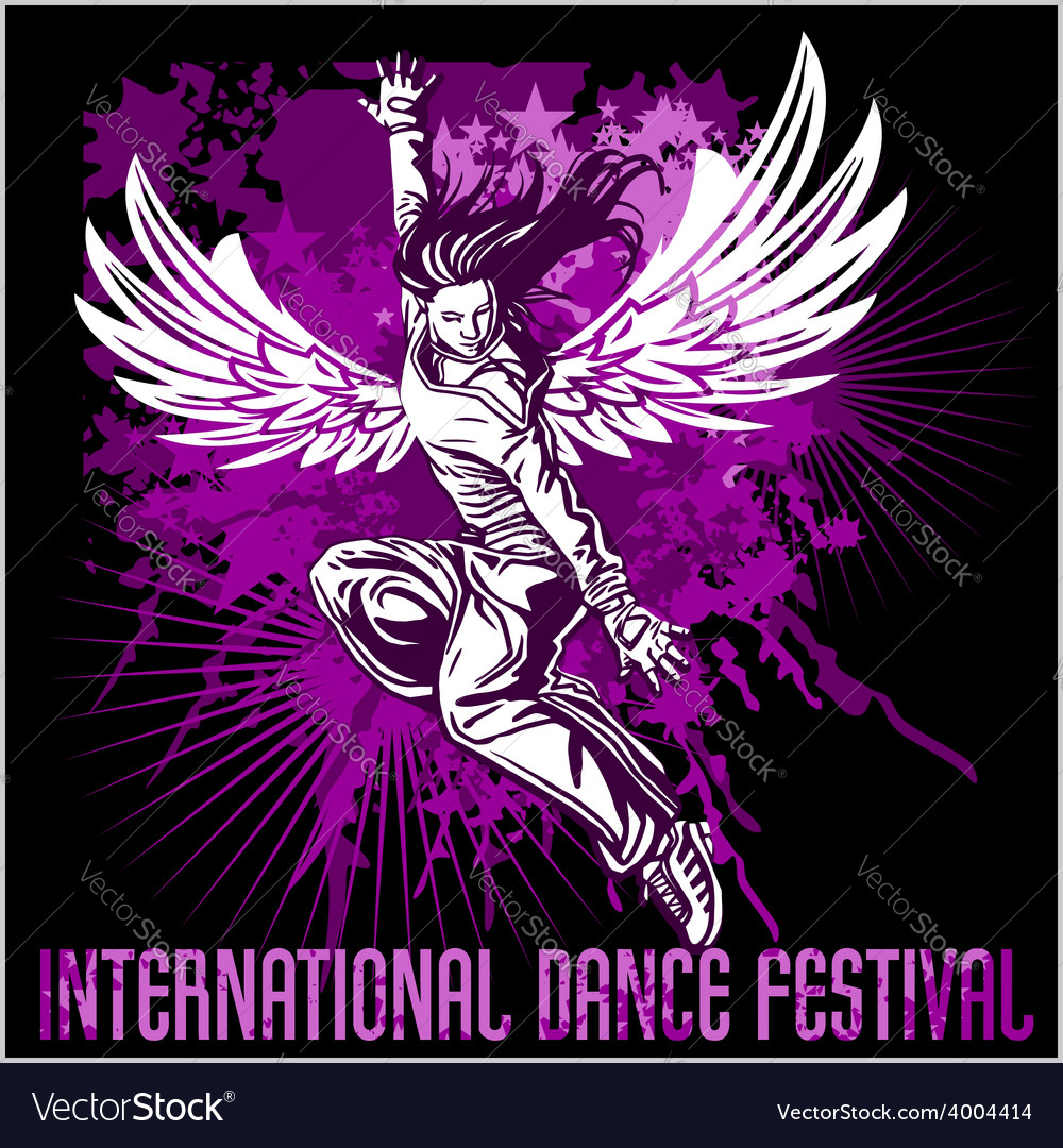 Grunge poster with girl dancer vector | Price: 3 Credit (USD $3)