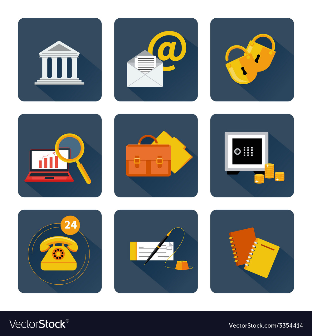 Icon set for finance and banking services vector | Price: 1 Credit (USD $1)