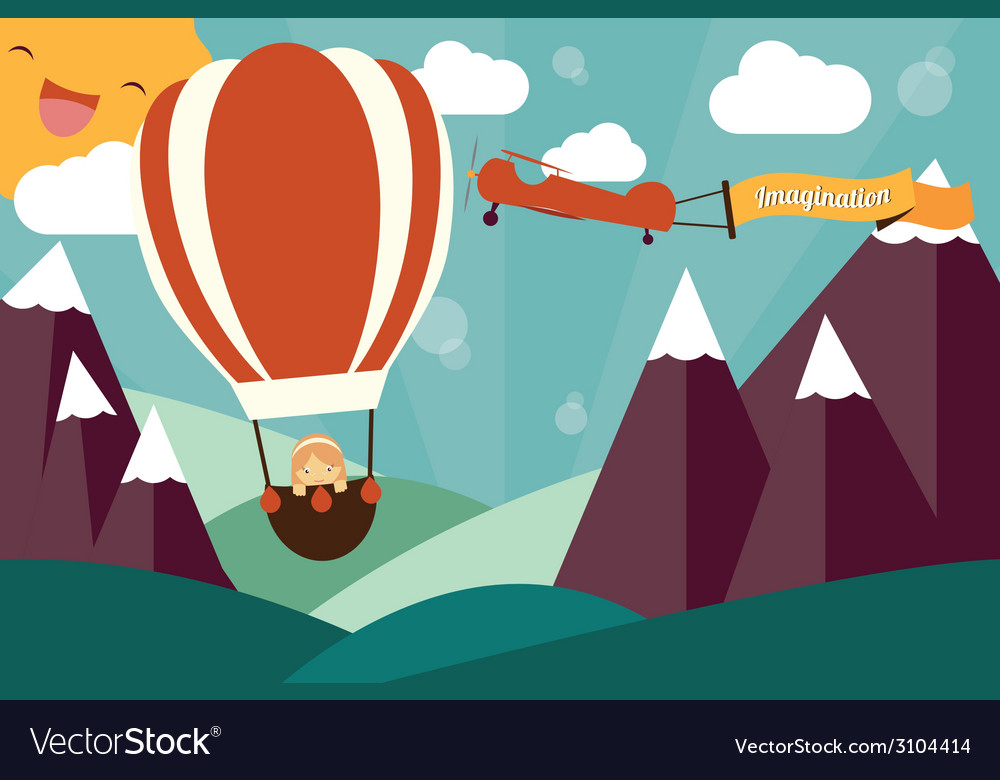 Imagination concept - girl in air balloon vector | Price: 1 Credit (USD $1)