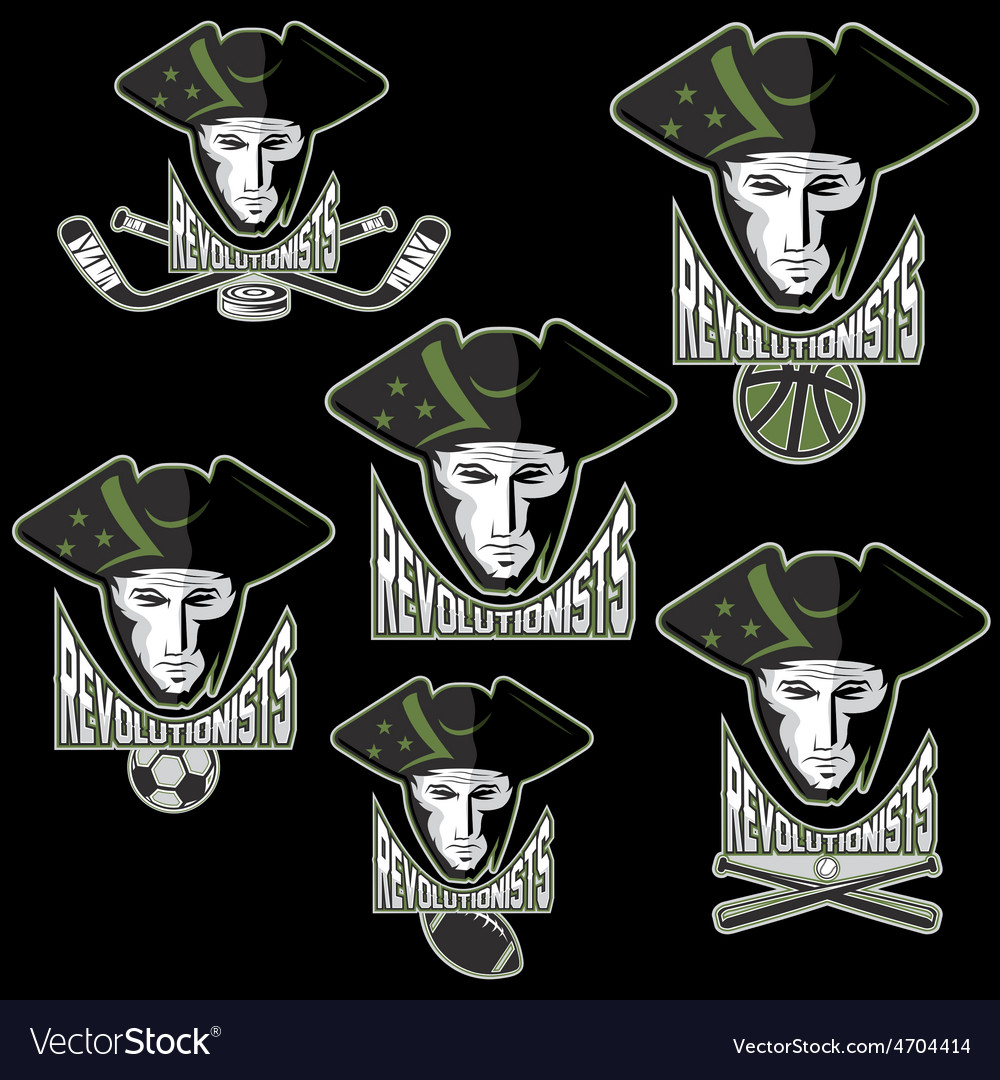 Revolutionists soldiers sport teams labels set vector | Price: 1 Credit (USD $1)