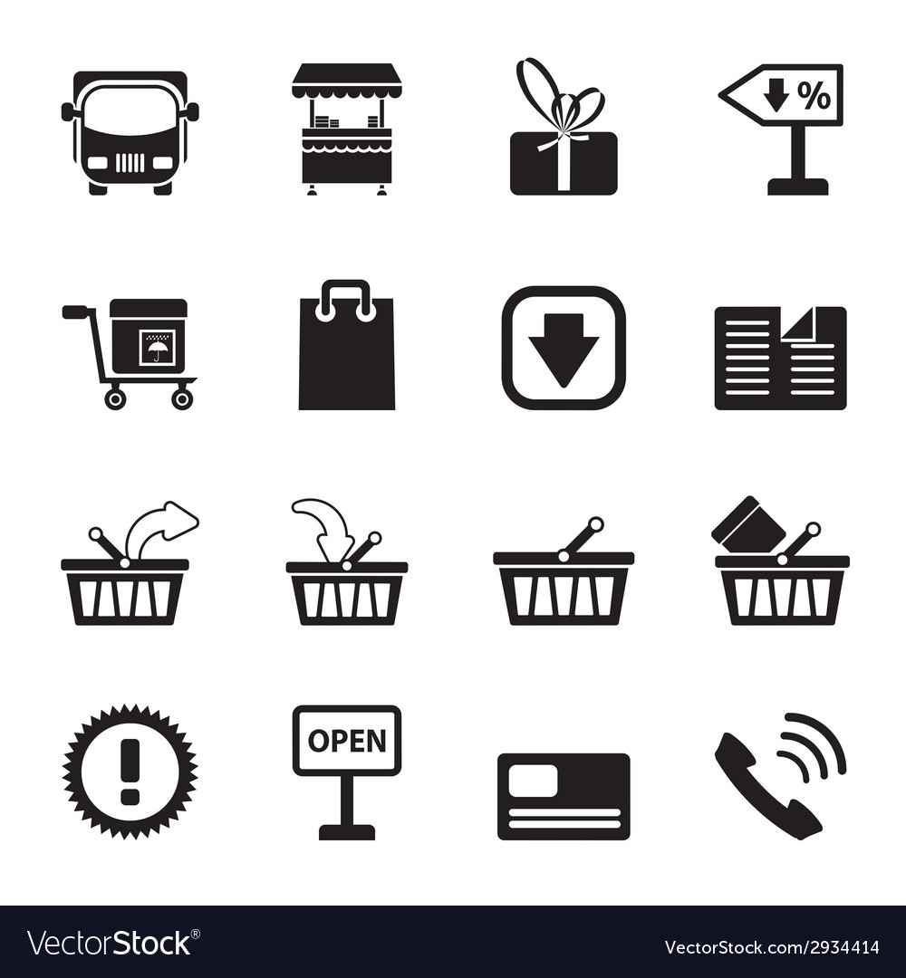 Silhouette online shop icons vector | Price: 1 Credit (USD $1)