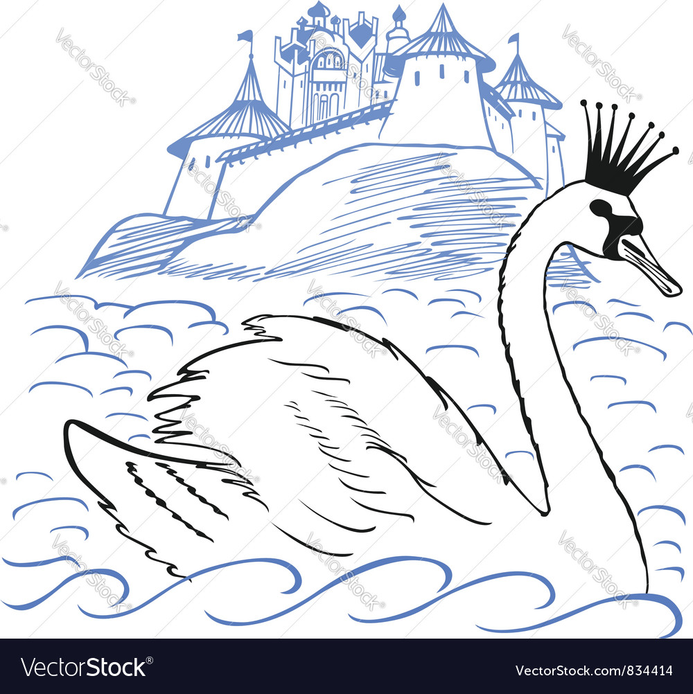 Swan in front of a palace vector | Price: 1 Credit (USD $1)