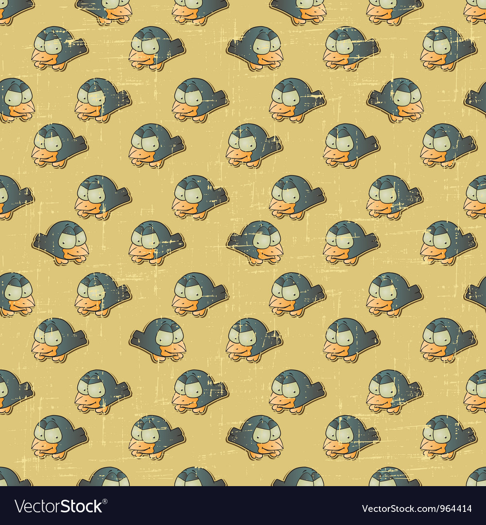 Vintage cartoon birds pattern vector | Price: 1 Credit (USD $1)