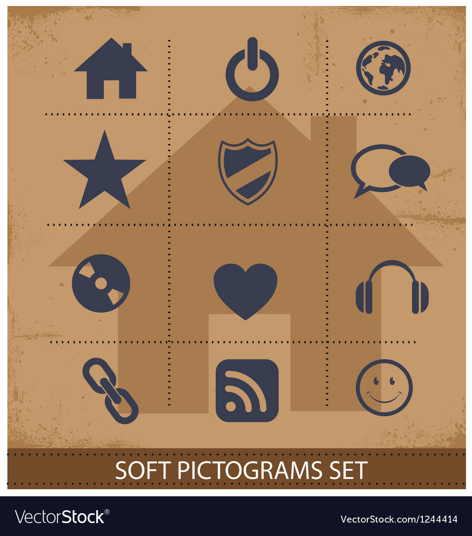 Web software pictogram symbols set isolated vector | Price: 1 Credit (USD $1)