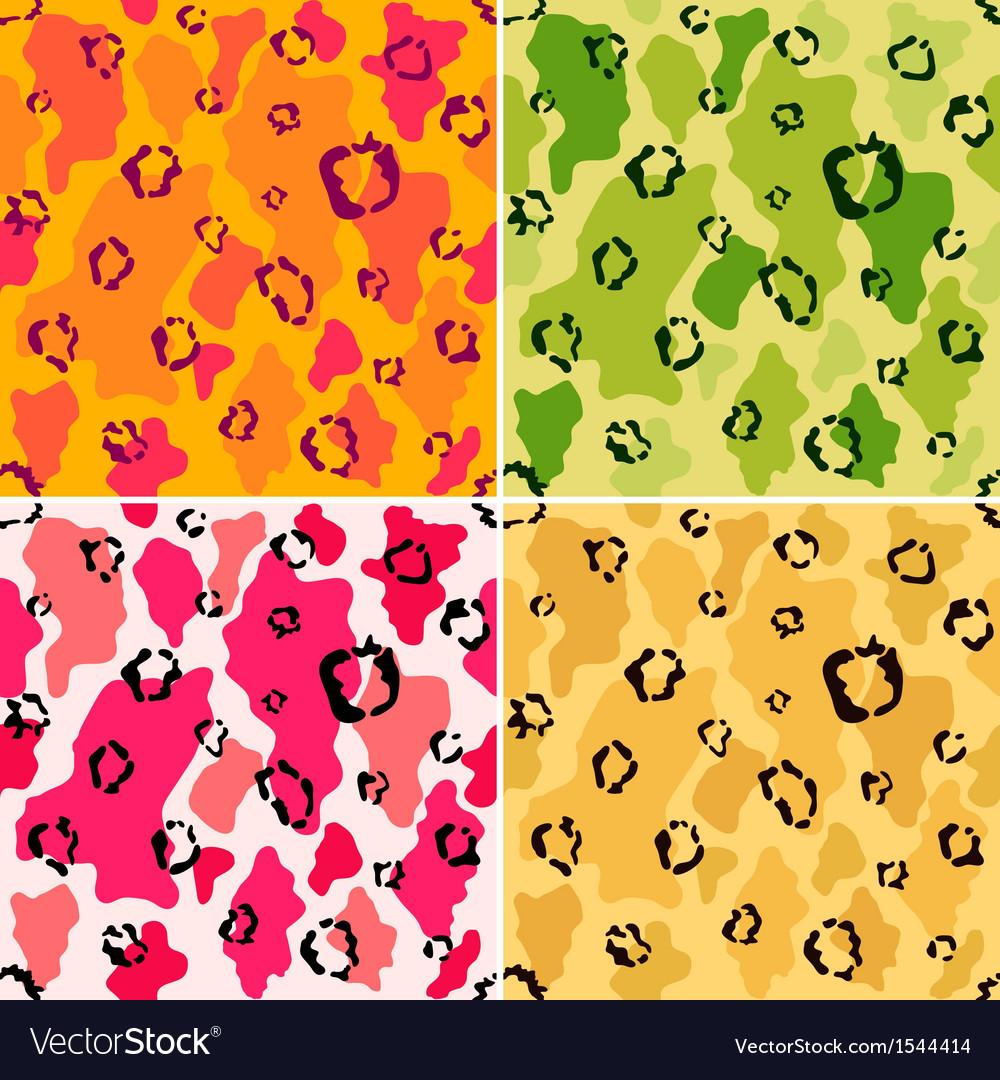 Wildlife animal spots seamless pattern set vector | Price: 1 Credit (USD $1)
