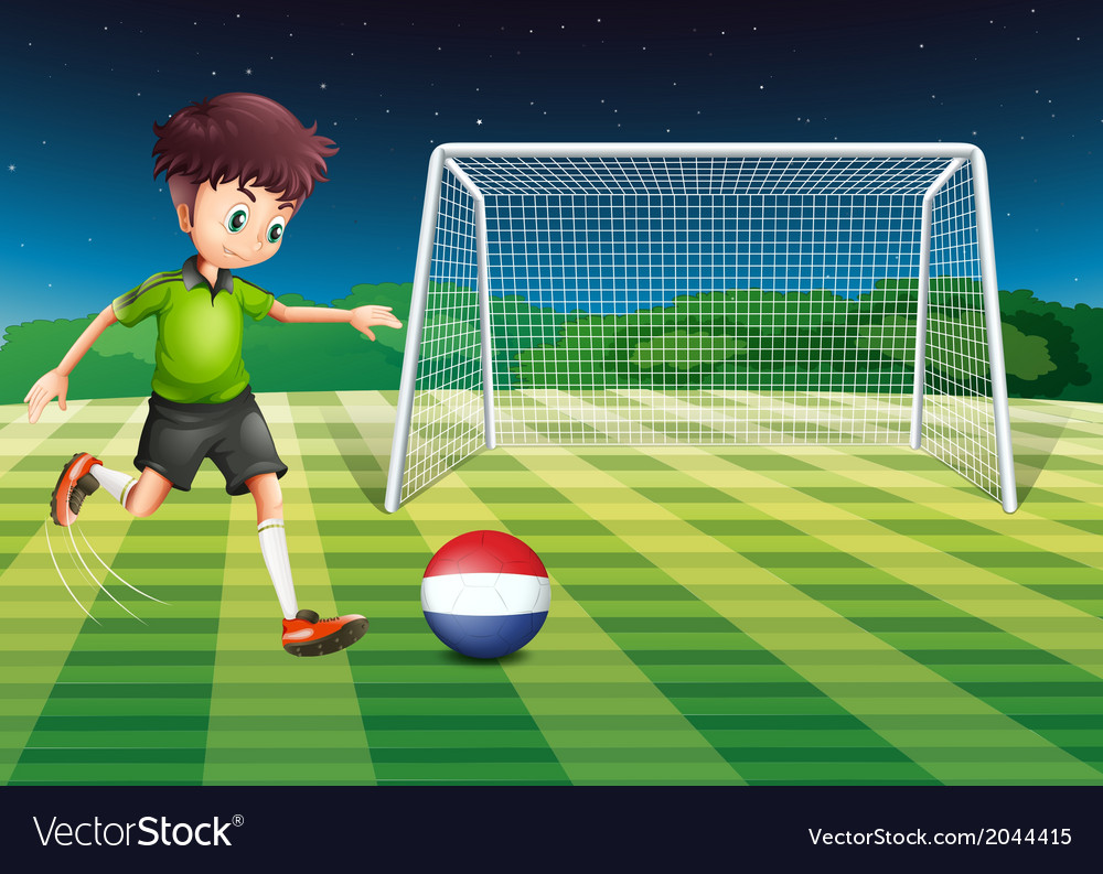 A male player kicking the ball with the flag of vector | Price: 1 Credit (USD $1)
