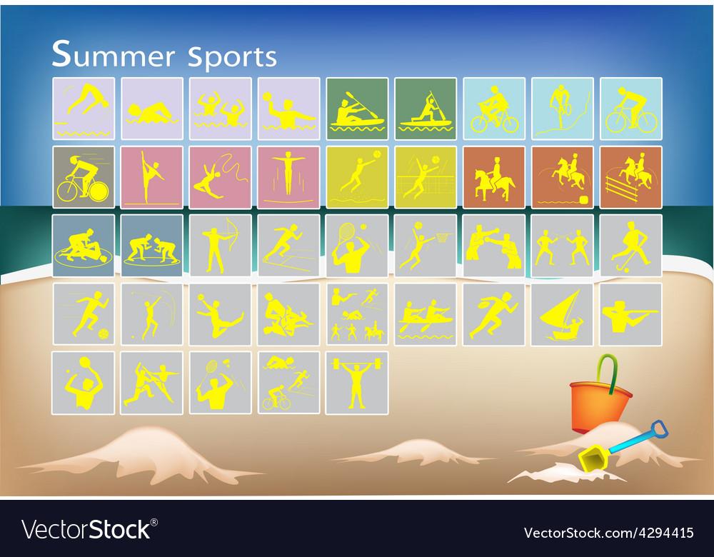 A mega set of 41 summer sport icons vector