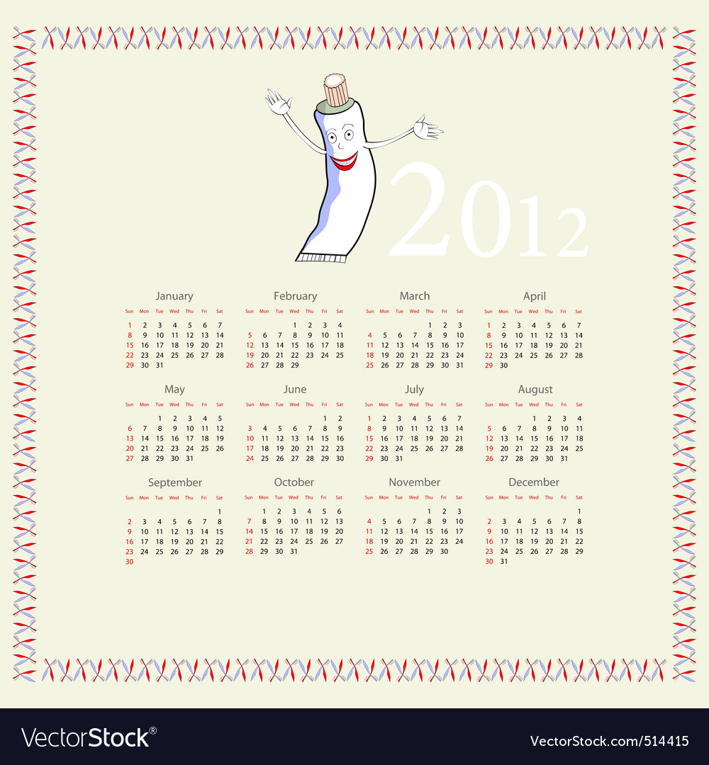 Calendar with a tube of toothpaste vector | Price: 1 Credit (USD $1)