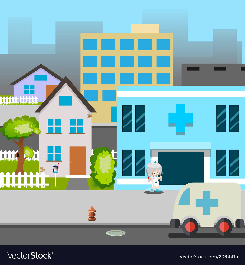 Cartoon street hospital ambulance car doctor vector | Price: 1 Credit (USD $1)
