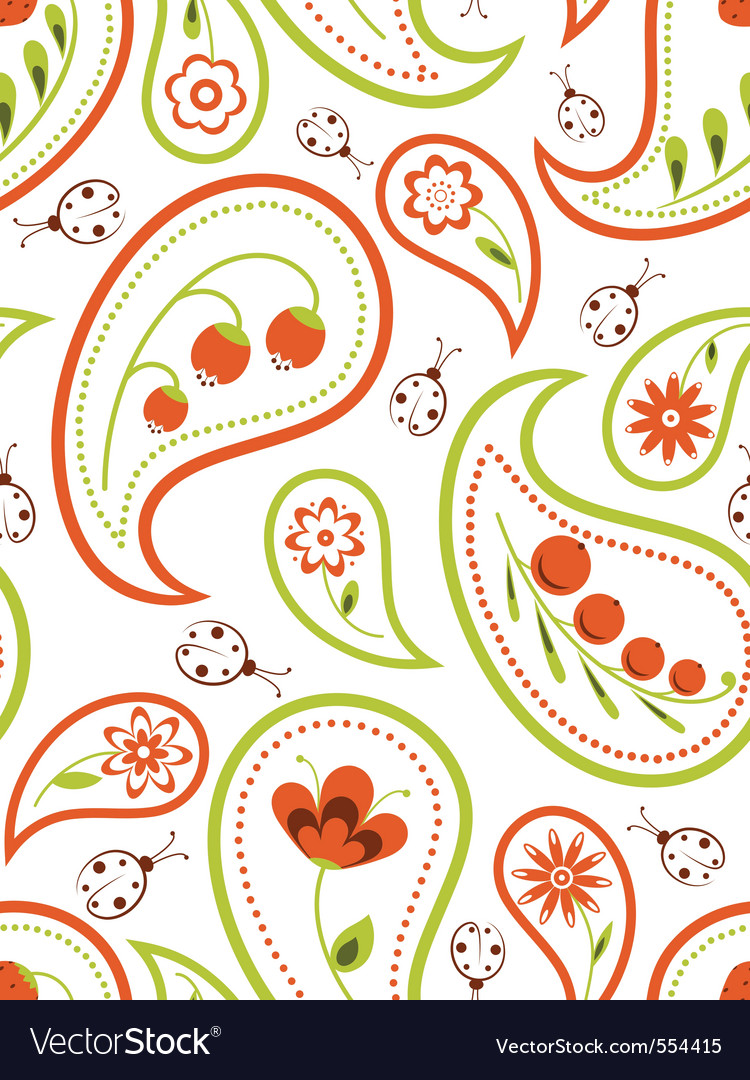 Floral paisley seamless vector | Price: 1 Credit (USD $1)