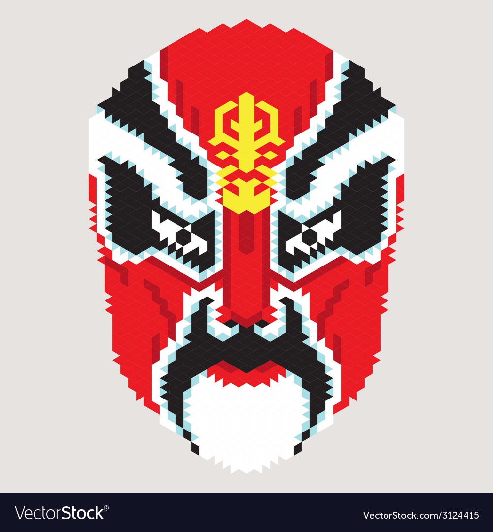 Geometric chinese mask vector | Price: 1 Credit (USD $1)
