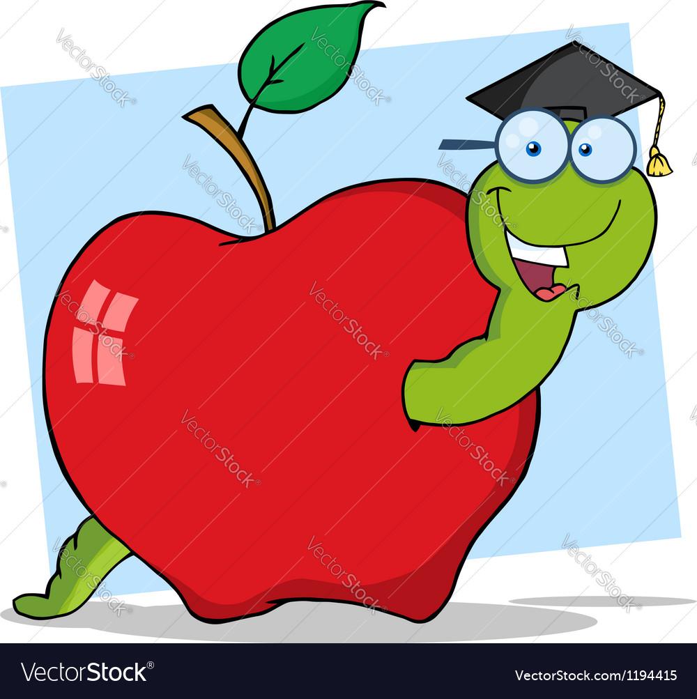 Graduate worm in apple vector | Price: 1 Credit (USD $1)
