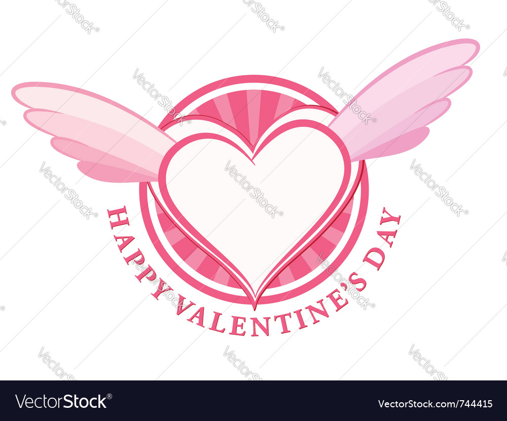 Happy valentine day stamp with heart and wings vector | Price: 1 Credit (USD $1)