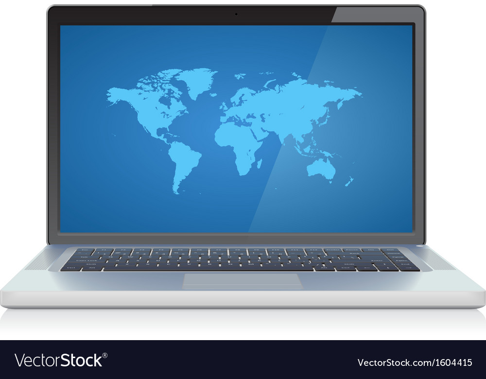 Laptop with world map on screen vector | Price: 1 Credit (USD $1)