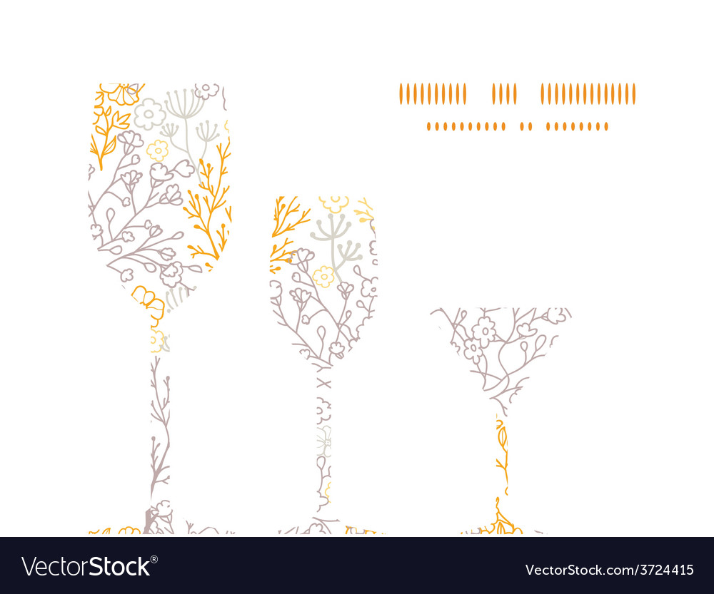 Magical floral three wine glasses vector | Price: 1 Credit (USD $1)