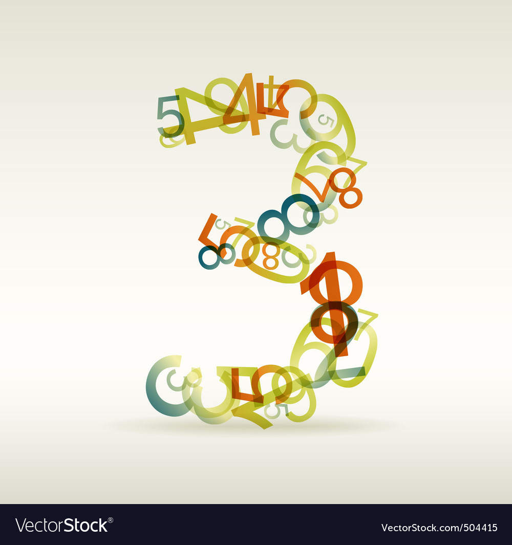 Number three made from colorful numbers vector | Price: 1 Credit (USD $1)