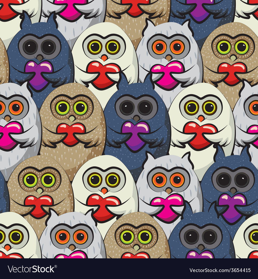Seamless pattern colorful owls with hearts vector | Price: 1 Credit (USD $1)