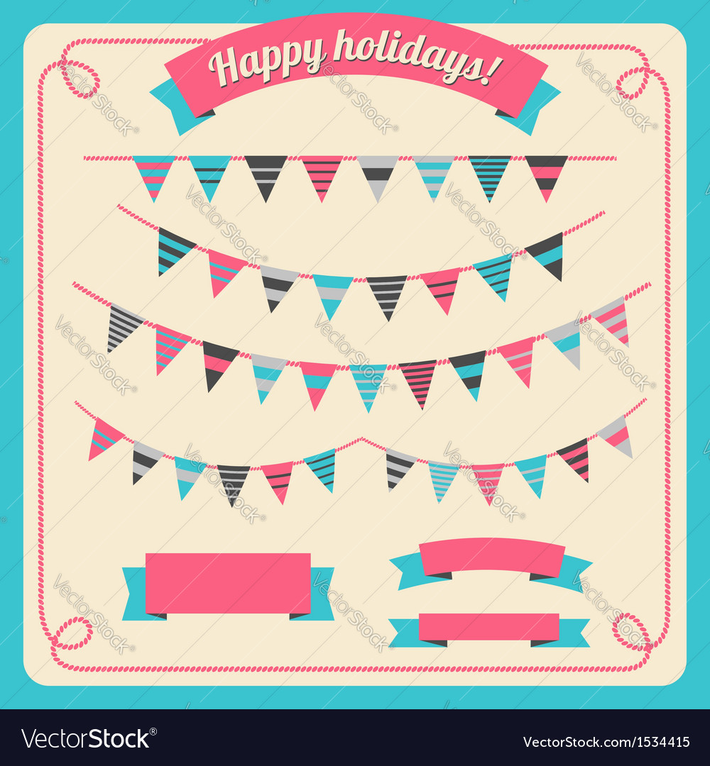 Set of bunting and garland with banners vector | Price: 1 Credit (USD $1)