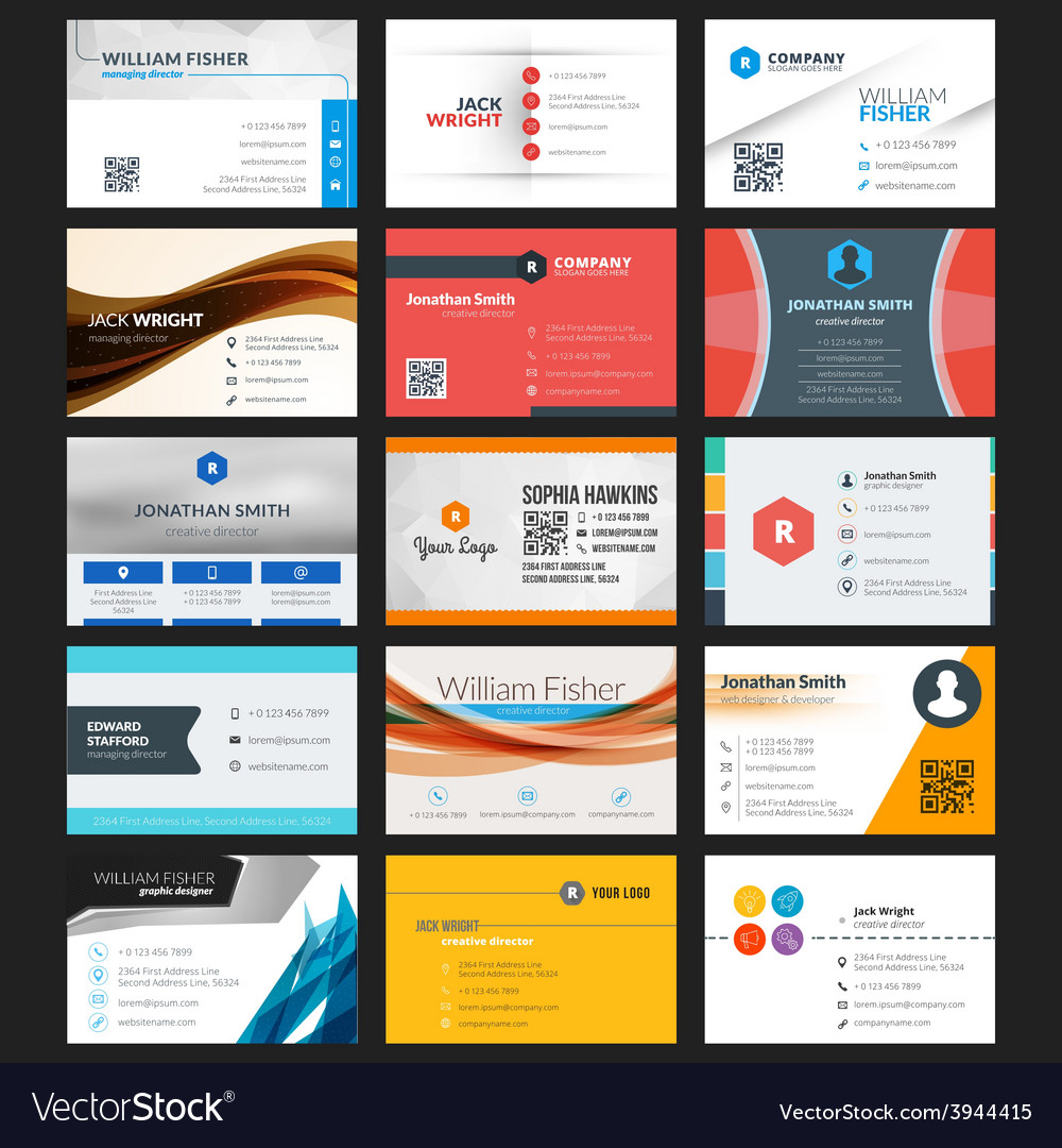 Set of modern creative business cards vector | Price: 1 Credit (USD $1)