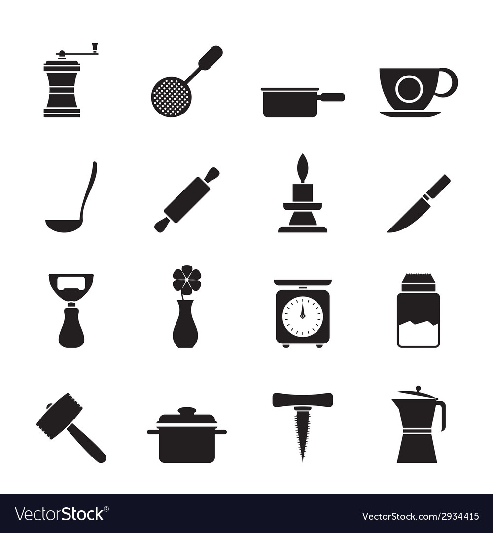 Silhouette kitchen and household tools icons vector | Price: 1 Credit (USD $1)