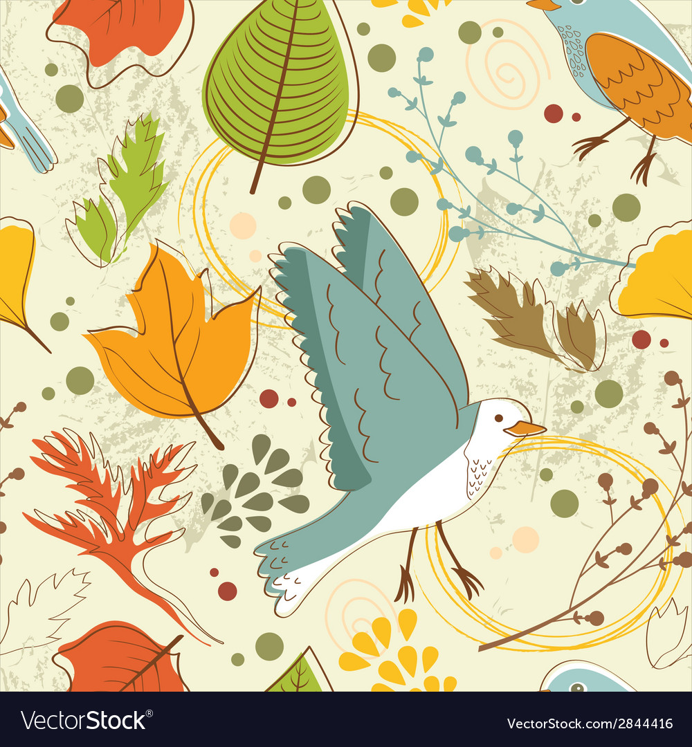 Autumn pattern with leaves and birds vector | Price: 1 Credit (USD $1)