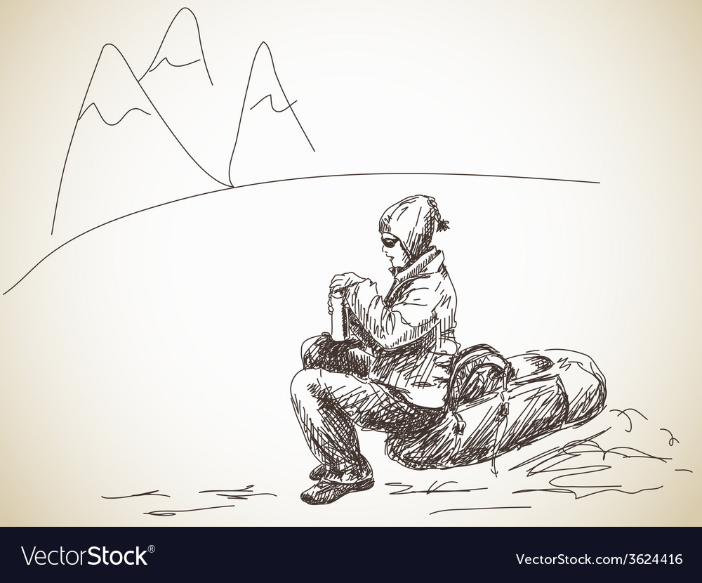 Backpacker at rest vector | Price: 1 Credit (USD $1)