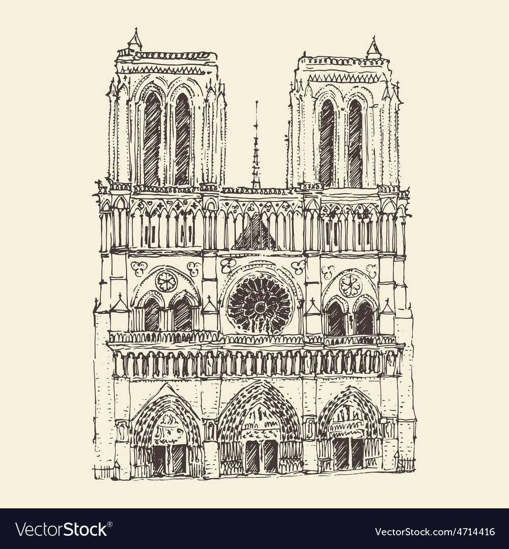 Cathedral of notre dame de paris france vintage vector | Price: 1 Credit (USD $1)