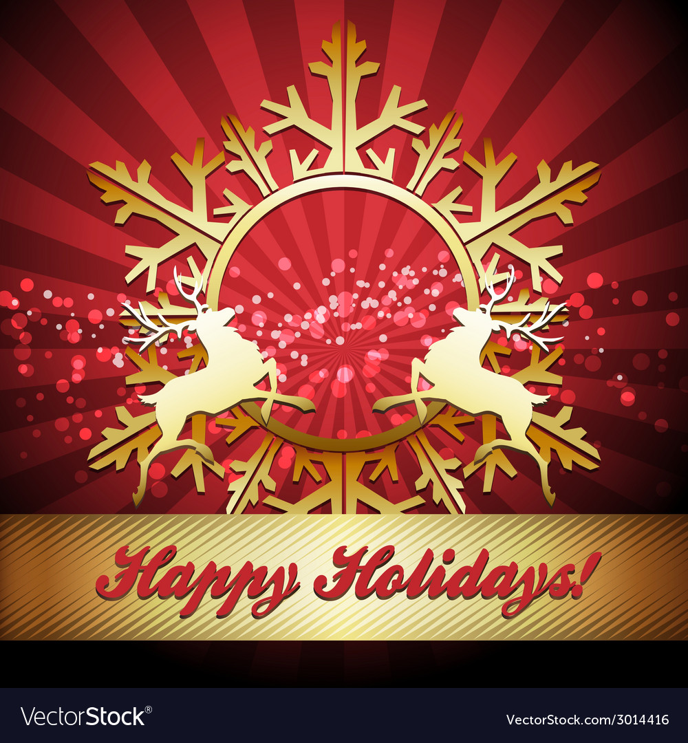 Christmas card with snowflake and reindeers vector | Price: 1 Credit (USD $1)