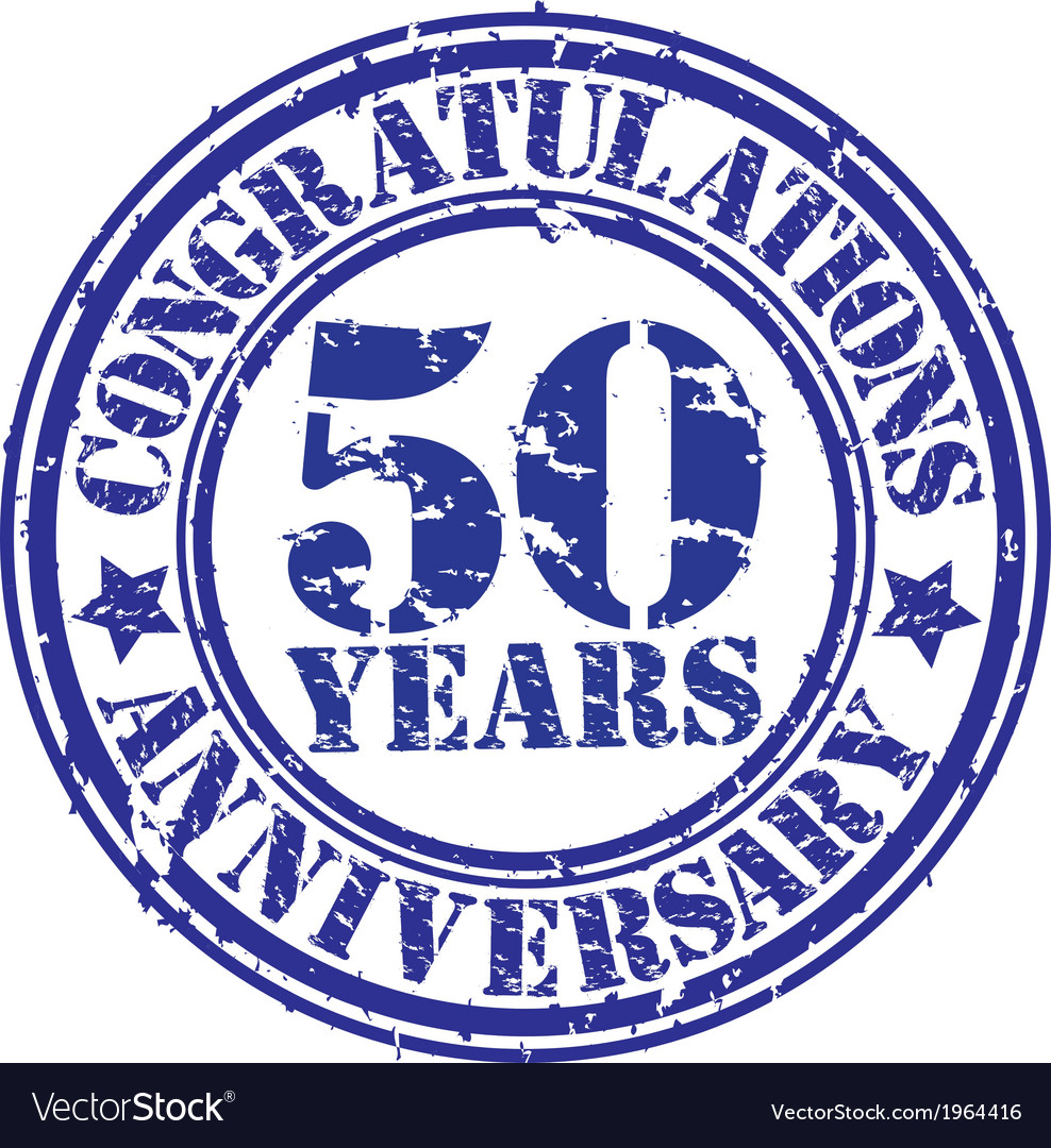 Congratulations 50 years anniversary grunge rubber vector | Price: 1 Credit (USD $1)