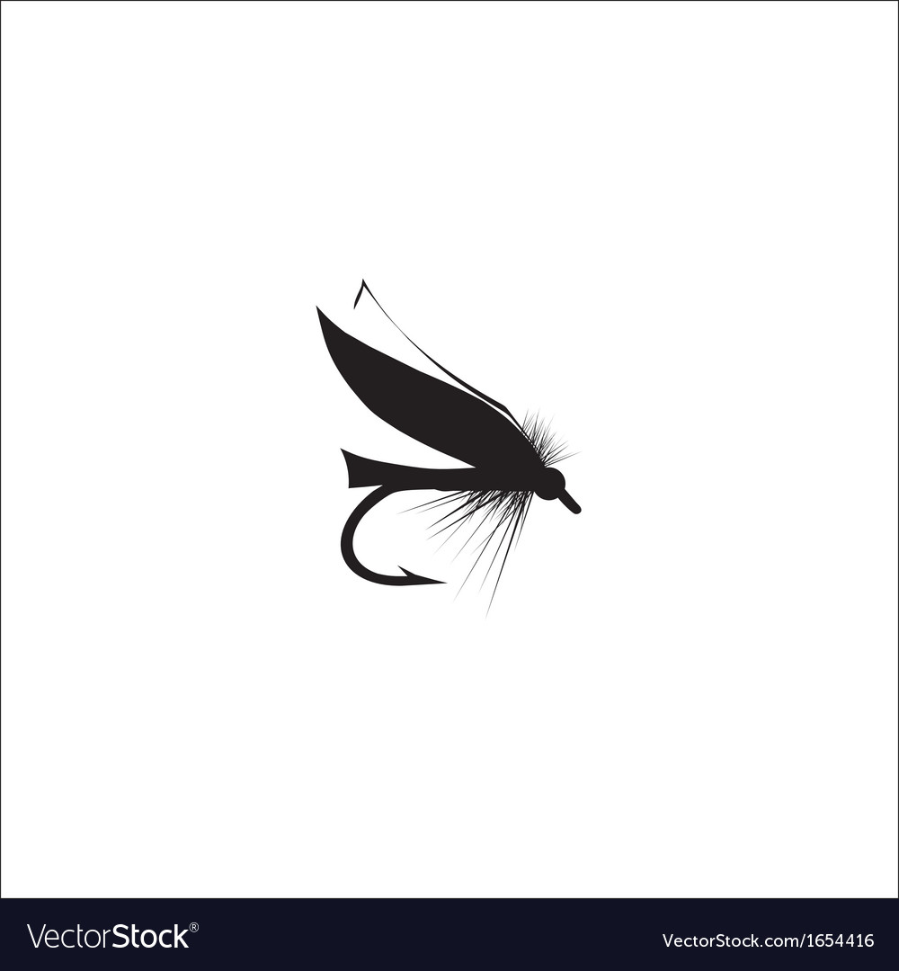 Fly-fishing on white background vector | Price: 1 Credit (USD $1)