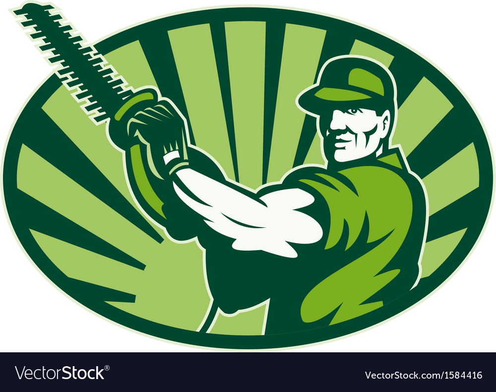 Gardener landscaper hedge trimmer retro vector | Price: 1 Credit (USD $1)
