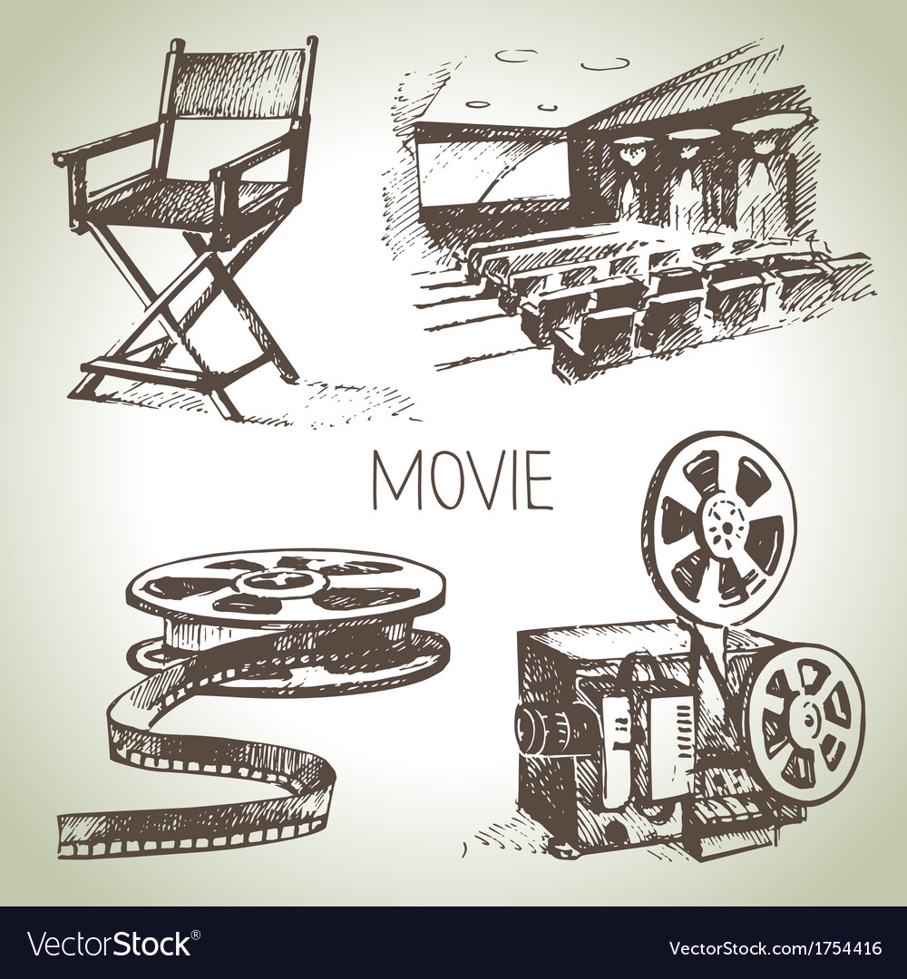 Hand drawn vintage movie and cinema set vector | Price: 1 Credit (USD $1)