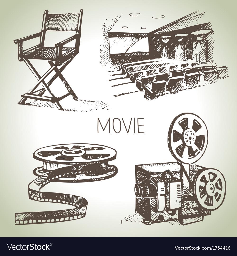 Hand drawn vintage movie and cinema set vector | Price: 1 Credit (USD $1)
