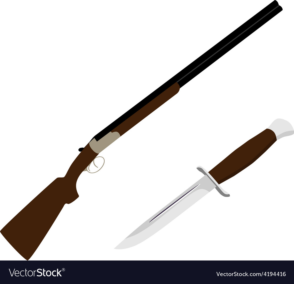 Hunting rifle and knife vector | Price: 1 Credit (USD $1)