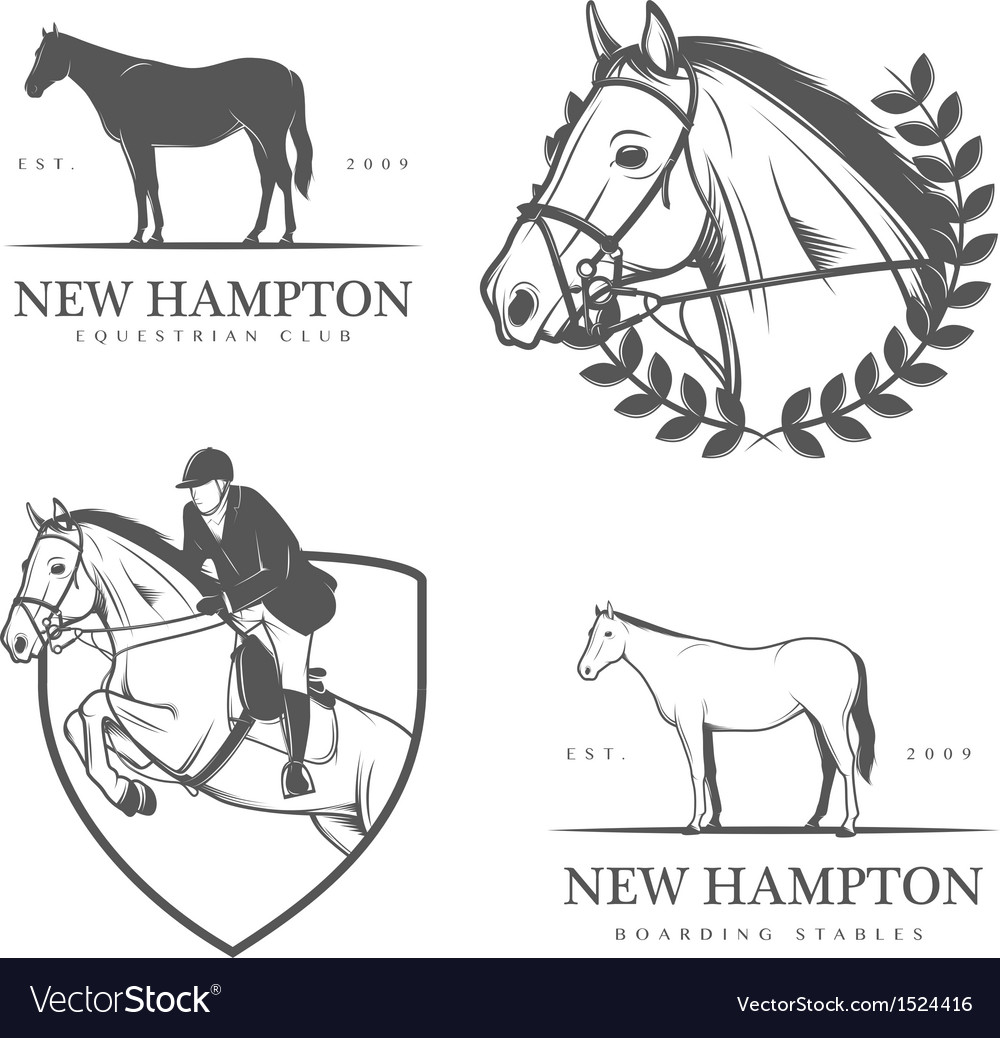 Set of equestrian stables labels and badges vector | Price: 1 Credit (USD $1)