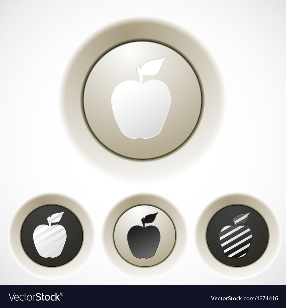 White buttons set with apple silhouette vector | Price: 1 Credit (USD $1)