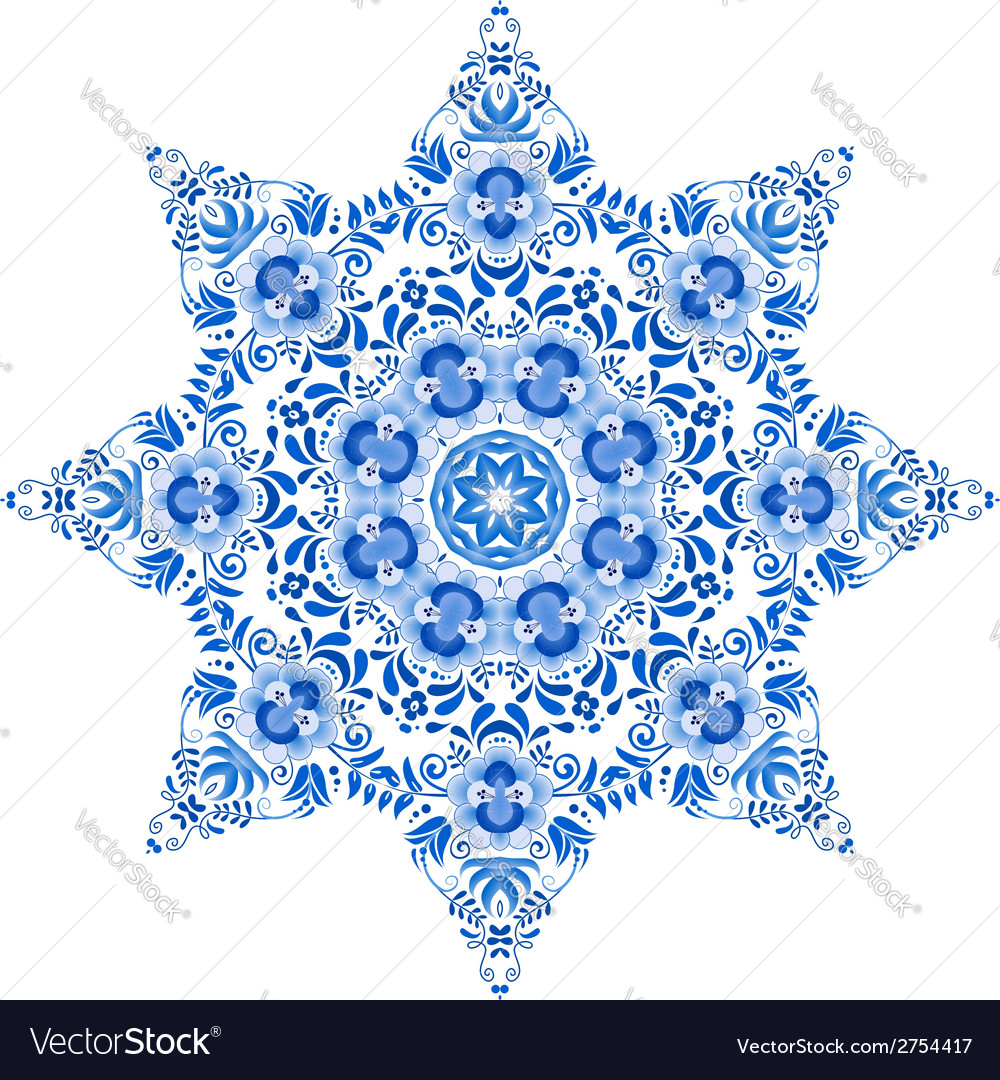 Blue floral circle pattern in gzhel style vector | Price: 1 Credit (USD $1)