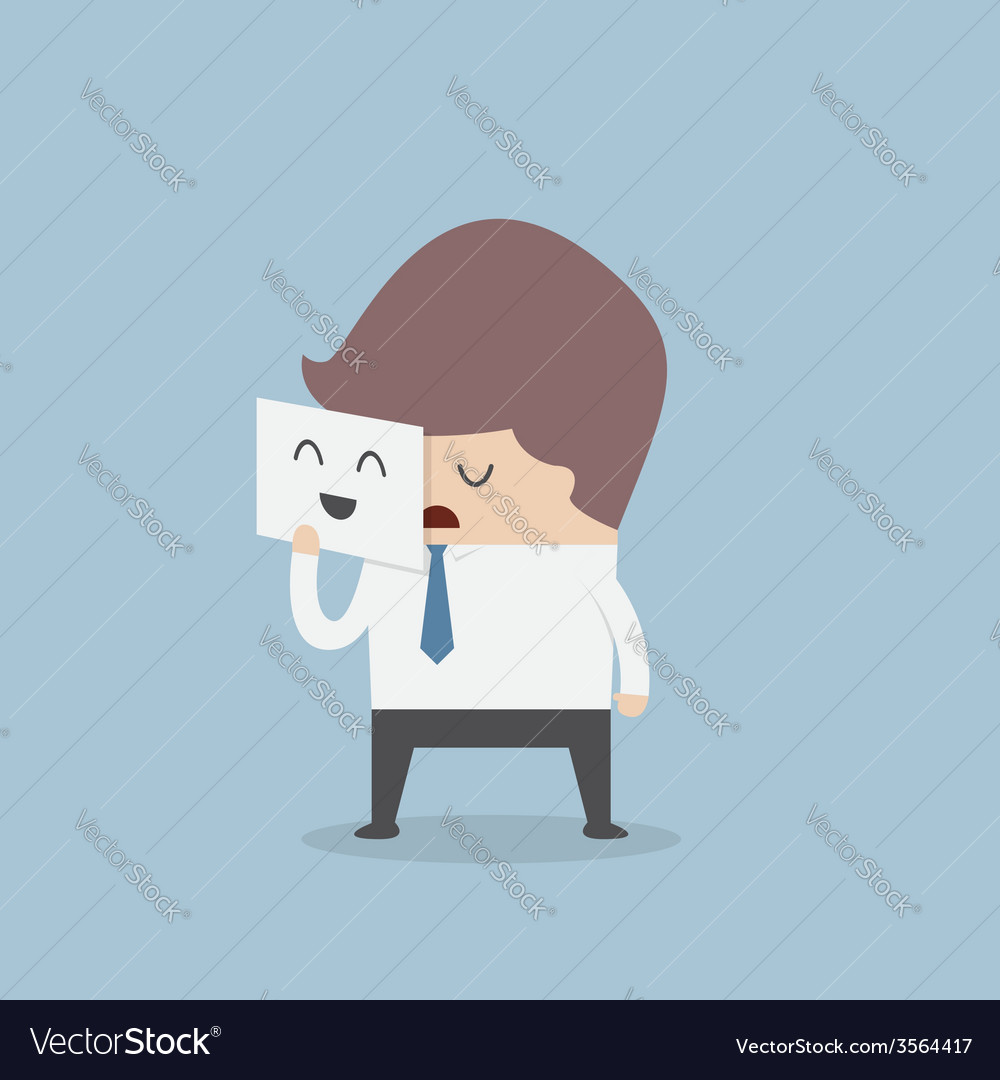 Businessman hide his tired face by holding smile m vector | Price: 1 Credit (USD $1)